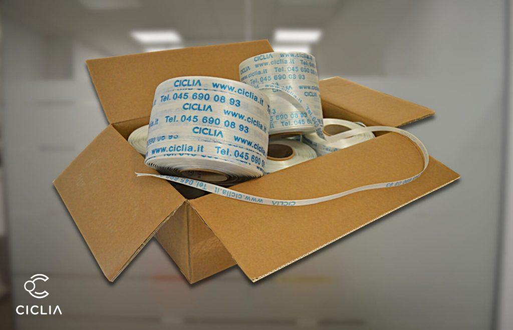 Le scatole delle reggette: Reggetta in poliestere tessile